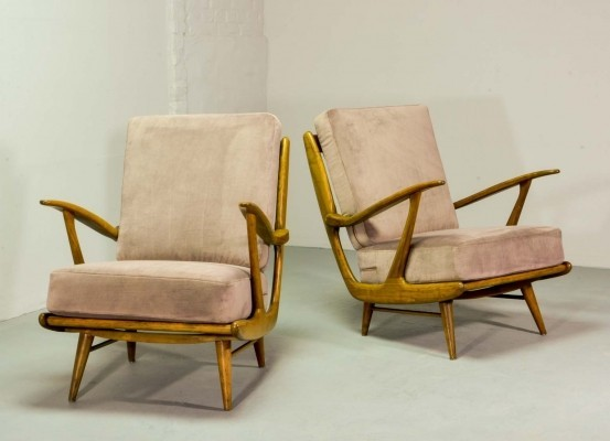 Art-Deco Influenced Spindle Back Lounge Chairs, 1950s
