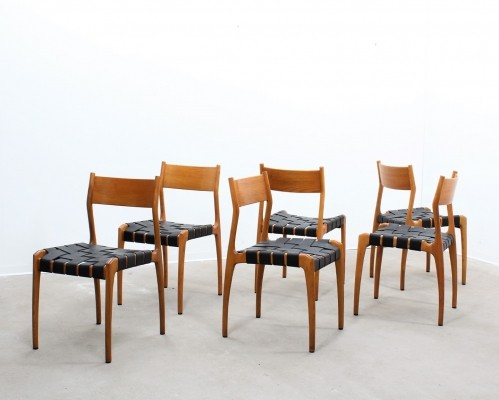 Set of 6 Fratelli Reguitti dinner chairs, 1950s