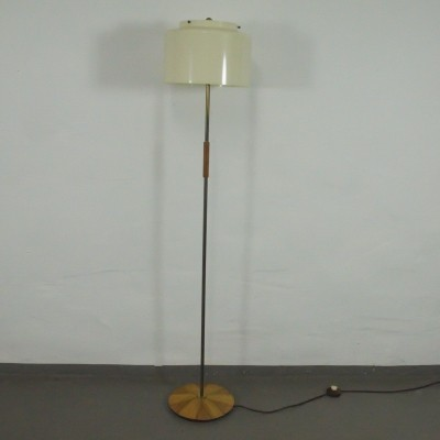 Walnut Floor Lamp with Plastic by Hustadt Leuchten, 1950s