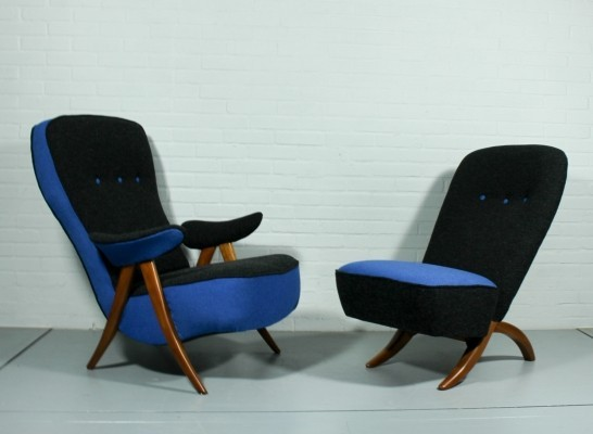 Pair of Congo & model 107 lounge chairs by Theo Ruth for Artifort, 1950s