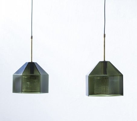 Pair of hanging lamps by Carl Fagerlund for Orrefors, 1960s