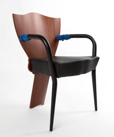 Borek Sipek Romantic Dalami chair with blue armrests as a accent