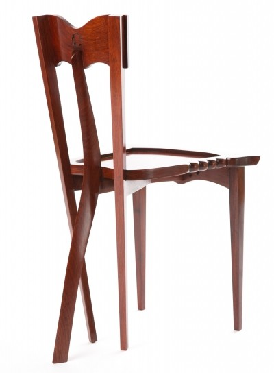 Borek Sipek 'Yoochai' chair in hand carved rosewood with mother-of-pearl, 1997