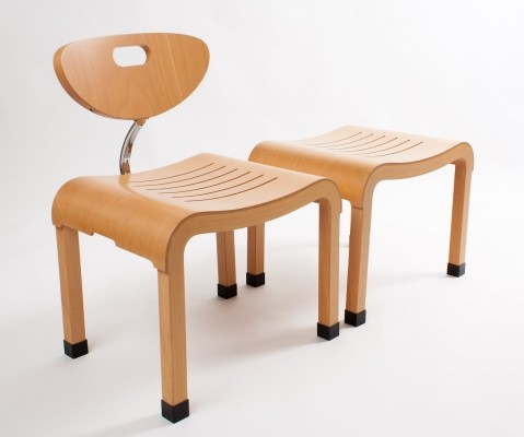 Ruud Jan Kokke bended wood Japanese chair & footstool