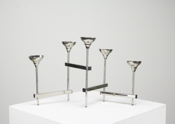 Adjustable chromed metal candle holder from the 1960s