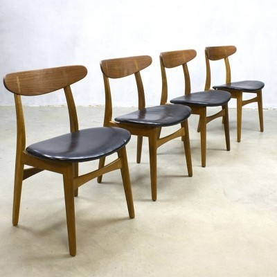 Set of 4 dinner chairs by Hans Wegner for Carl Hansen & Son, 1950s