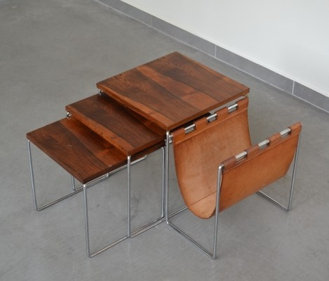 Brabantia nesting tables in Rosewood with cognac leather magazine holder