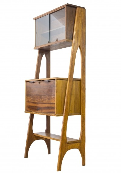 Danish Design Teak Secretaire Dry Bar Storage Unit, 1960s