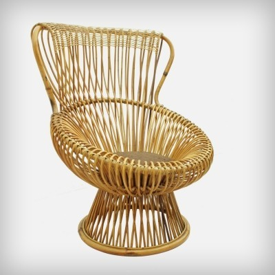 Wicker 'Margherita' Lounge Chair by Franco Albini for Vittorio Bonacina, 1950s