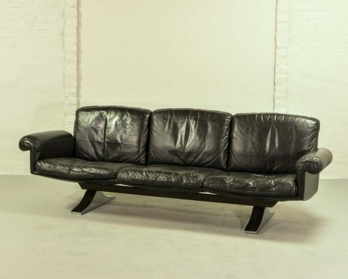 Black Leather DS31 Three-Seat Sofa by De Sede, 1960s