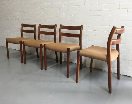 Set of 4 Model 84 dinner chairs by Niels O. Møller for Moller, 1960s