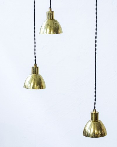 Set of 3 T618 Flora hanging lamps by Hans Agne Jakobsson, 1960s