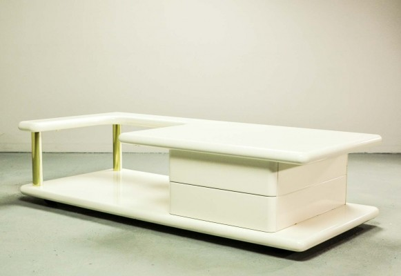 Exclusive Italian Brass & White Gloss Lacquered Coffee Table