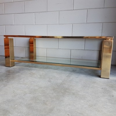 23k gold plated rectangular coffee table by Belgo Chrom, 1980s