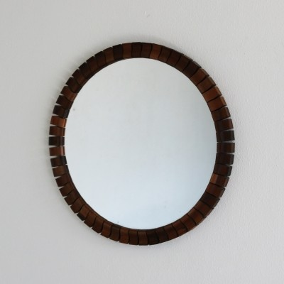 Round wall mirror with wooden edging, 1960s