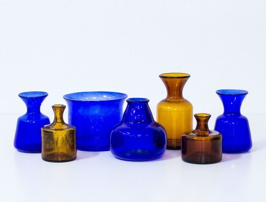 Set of 7 vases by Erik Hoglund for Boda Åfors Glassworks, 1950s