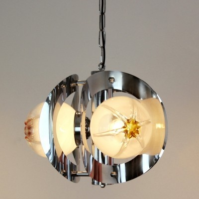 Geometric Chrome & Frosted Glass Chandelier by A.V. Mazzega
