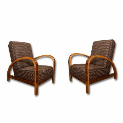 Pair of art deco arm chairs, 1930s