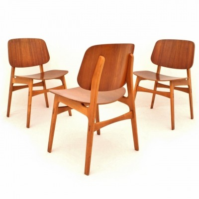 Model 155 dining chairs in teak & birch by Børge Mogensen for Søborg Møbelfabrik