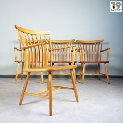 Set of 4 Spine dining chairs by Bengt Akerblom for Akerblom, 1950s