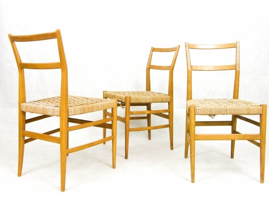 3 x Leggera dining chair by Gio Ponti for Cassina, 1950s