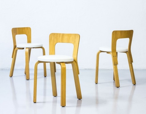 Set of 3 Model 65 stools by Alvar Aalto for Artek, 1970s