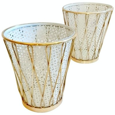 Mid-century Italian paper waste baskets in brass, 1940s