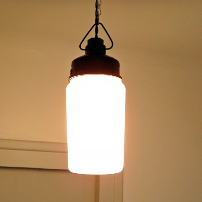 20 x hanging lamp in bakelite & white glass, 1970s
