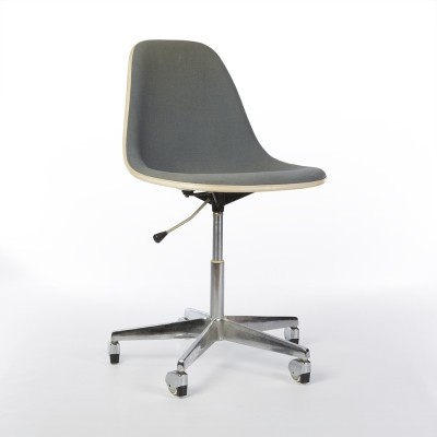 Original Herman Miller Eames Grey Draughtsman Stool on Prototype Gas Operated Base