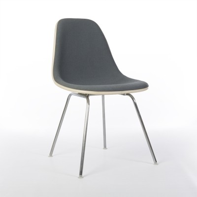 Original Herman Miller Eames Grey Upholstered DSX Side Chair