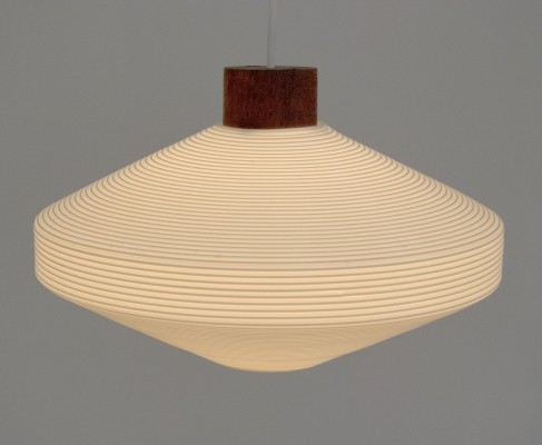 Scandinavian Hanging Lamp made of Plastic & Teak, 1960s