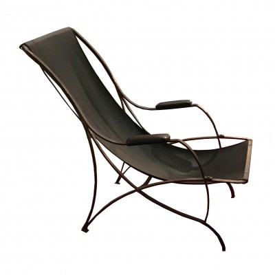 Rare important iron & leather deckchair by Azucena, 1980s