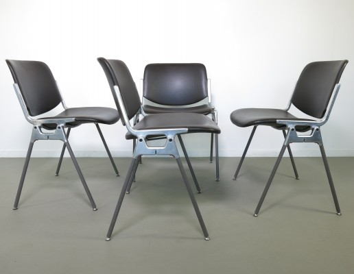 Set of 4 DSC dining chairs by Giancarlo Piretti for Castelli, 1960s