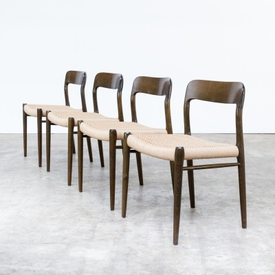 Set of 4 model 75 dinner chairs by Niels Otto Møller for J L Møller, 1960s