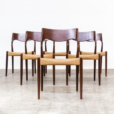 Set of 6 Model 71 dinner chairs by Niels Otto Møller for J L Møller, 1960s