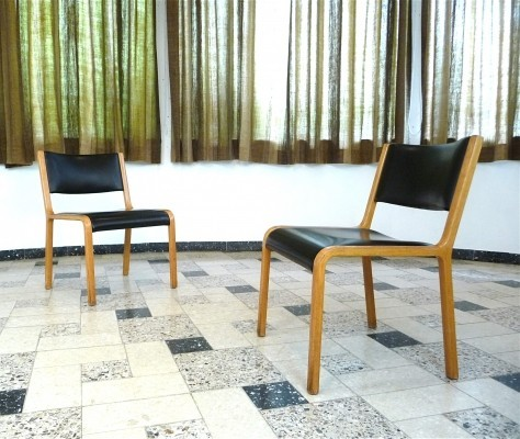 Pair of Bentwood Wilkhahn Side Chair with Skai Cover, 1960s