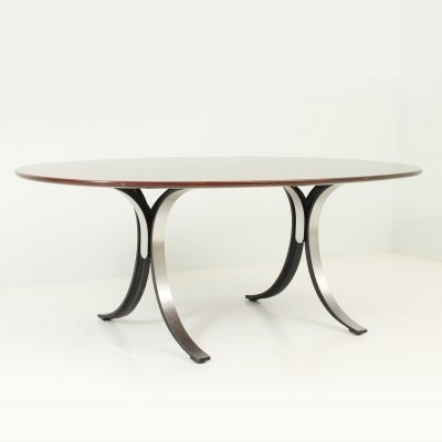 T102 A Oval Table in Walnut by Osvaldo Borsani