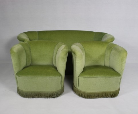 Danish Curved Sofa & 2 Easy Chairs, 1950s