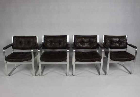 Karl-Erik Ekselius Leather & Aluminum Mondo Armchairs/set