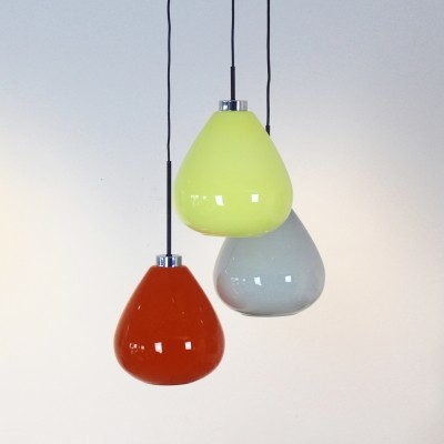Three Colored Murano Glass Pendant Lamp from Venini, Italy 70s
