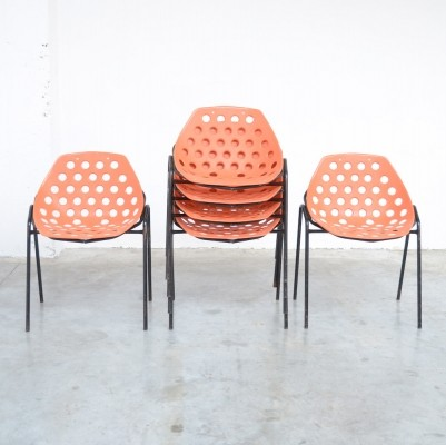 Set of 6 Coquillage Stacking Chairs by P. Guariche for Meurop