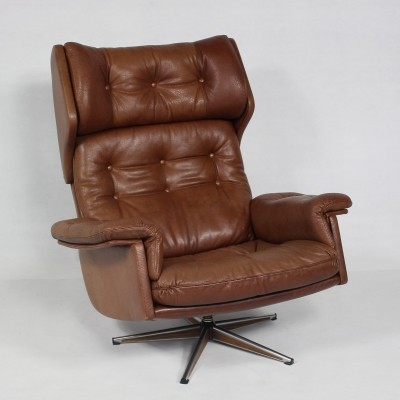 Danish Leather Swivel Chair, 1970s