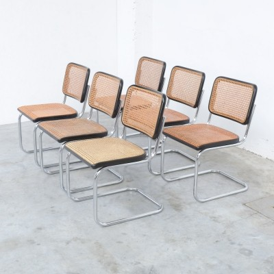Set of 6 Cesca Chairs by Marcel Breuer for Thonet, 1980s