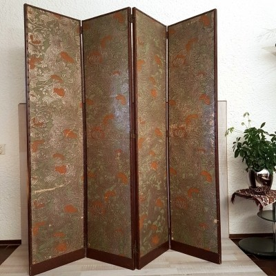 Handcrafted leather screen / Room Divider with flowers, 1950s
