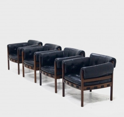 Set of 4 Lounge Chairs by Arne Norell for AB Sweden, 1960s