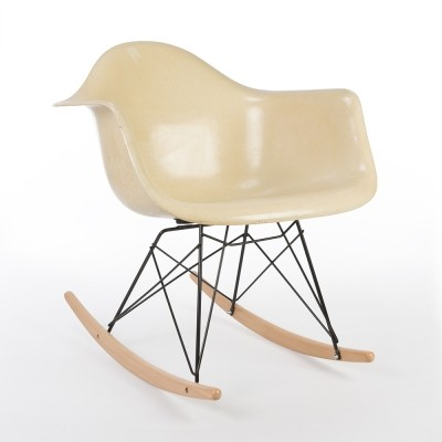 eames rocking chair original cushion upholstered miller parchment arm