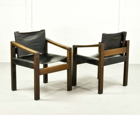 3 Brutalist Wengé Wooden Side Chairs with Sadle Leather