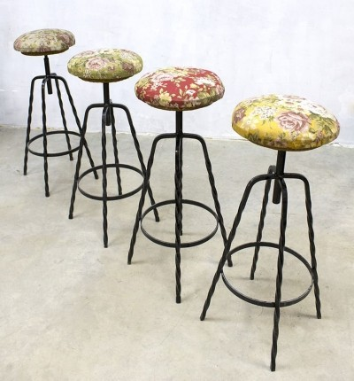 Vintage industrial barstools with flower print, 1960s