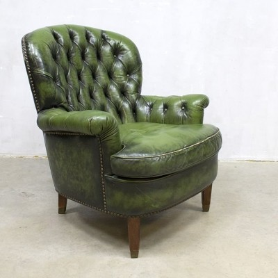 Green Chesterfield Arm Chair, 1950s