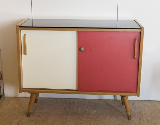 Cabinet with black glass top, 1950s